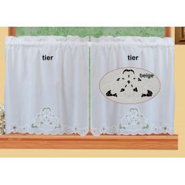 """Creative Linens Lace Cutwork Kitchen Curtain 24"""" L Tiers Ecru Beige"""